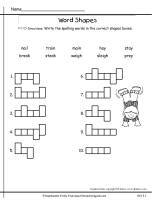 wonders second grade unit three week one spelling shapes