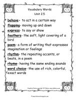 wonders 2nd grade unit two week five vocabulary words printout